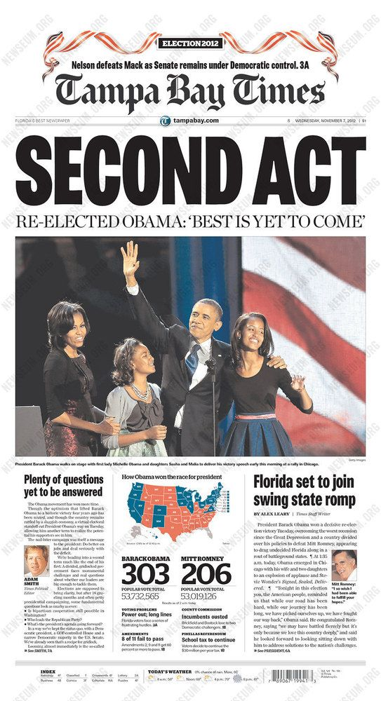 Newspaper Front Pages Cover ObamaS ReElection  President Obama