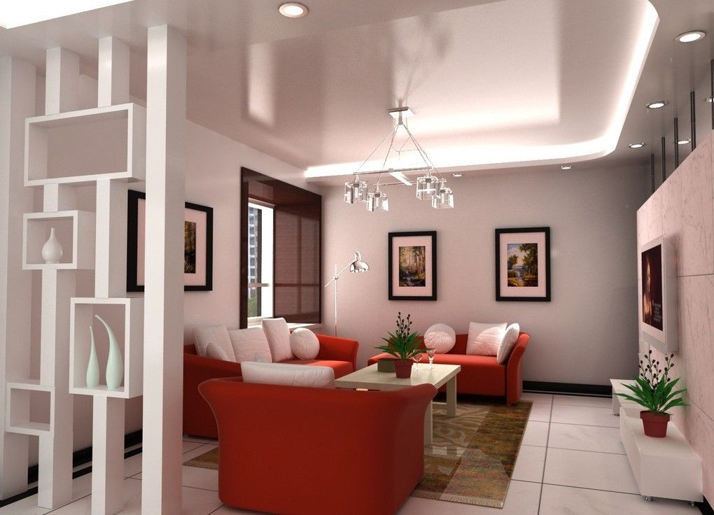 Nice Living Room Interior Design Sofa Partition 3D