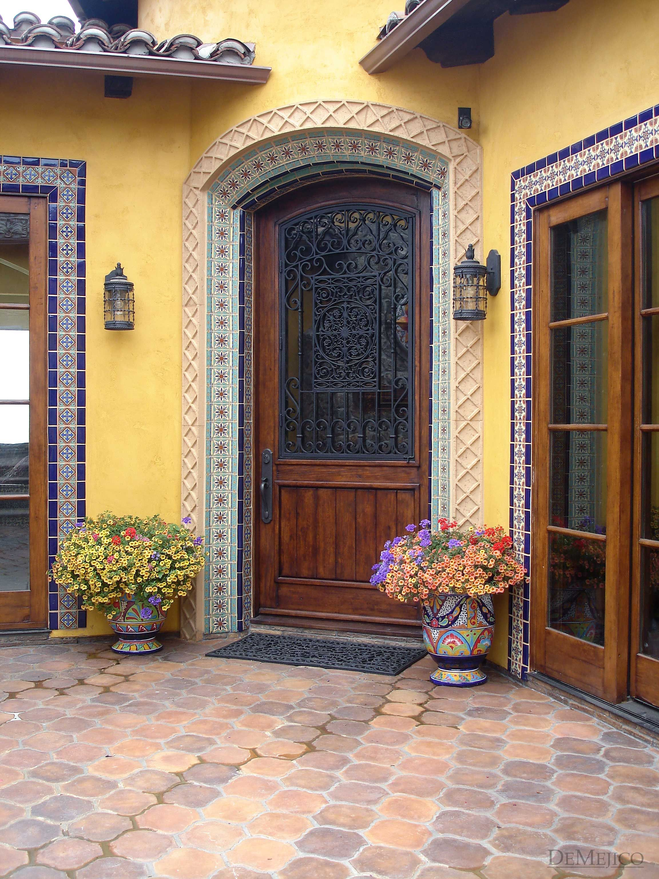 Colorful tiled Spanish Revival courtyard entry in Malibu ...
