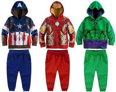 c7c67d6f9acf Boys  hoodie fancy captain america  ironman hulk kids  costume set