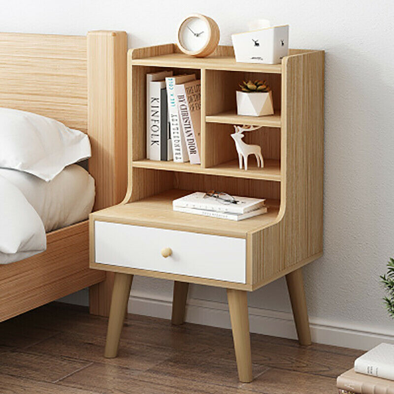 Details About Wooden Bedside Table Nightstand Cabinet 4 Cubes Storage Shelf With Leg Home Unt In 2020 Side Tables Bedroom Storage Furniture Bedroom Furniture