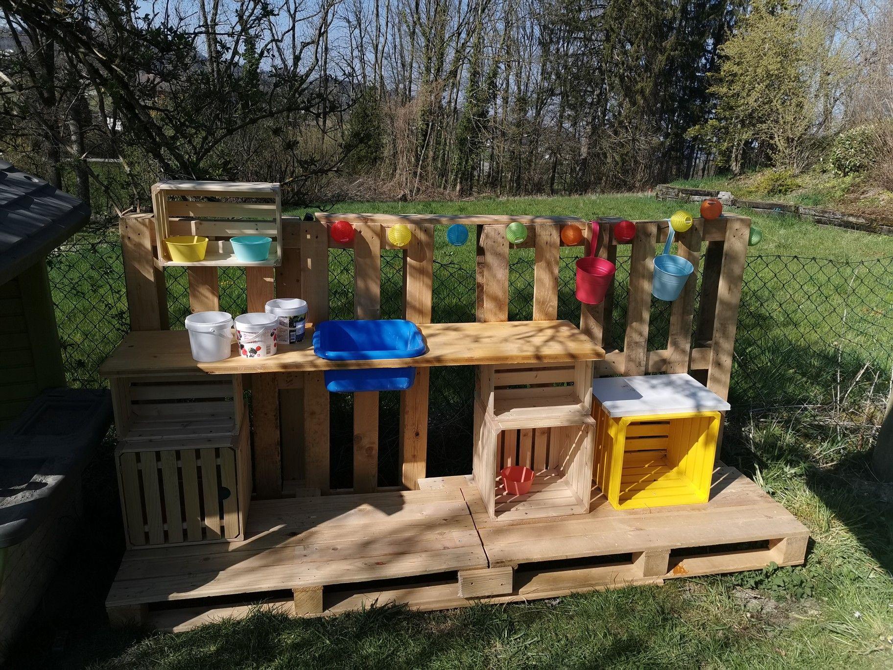 Matschkuche Kinder Spielplatz Garten Bauen Mit Paletten Kinderkuche Holz