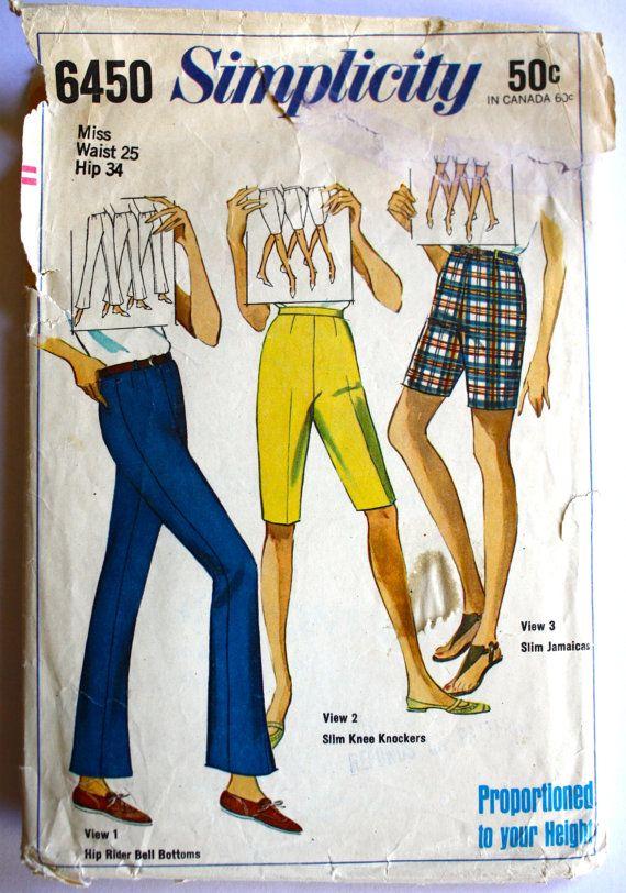 Vintage 1960s Women's Bermuda Shorts Capri by PaperDollPatterns, $10.99