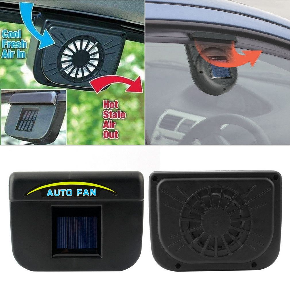 Solar Powered Car Window Fan Auto Ventilator Cooler Solar