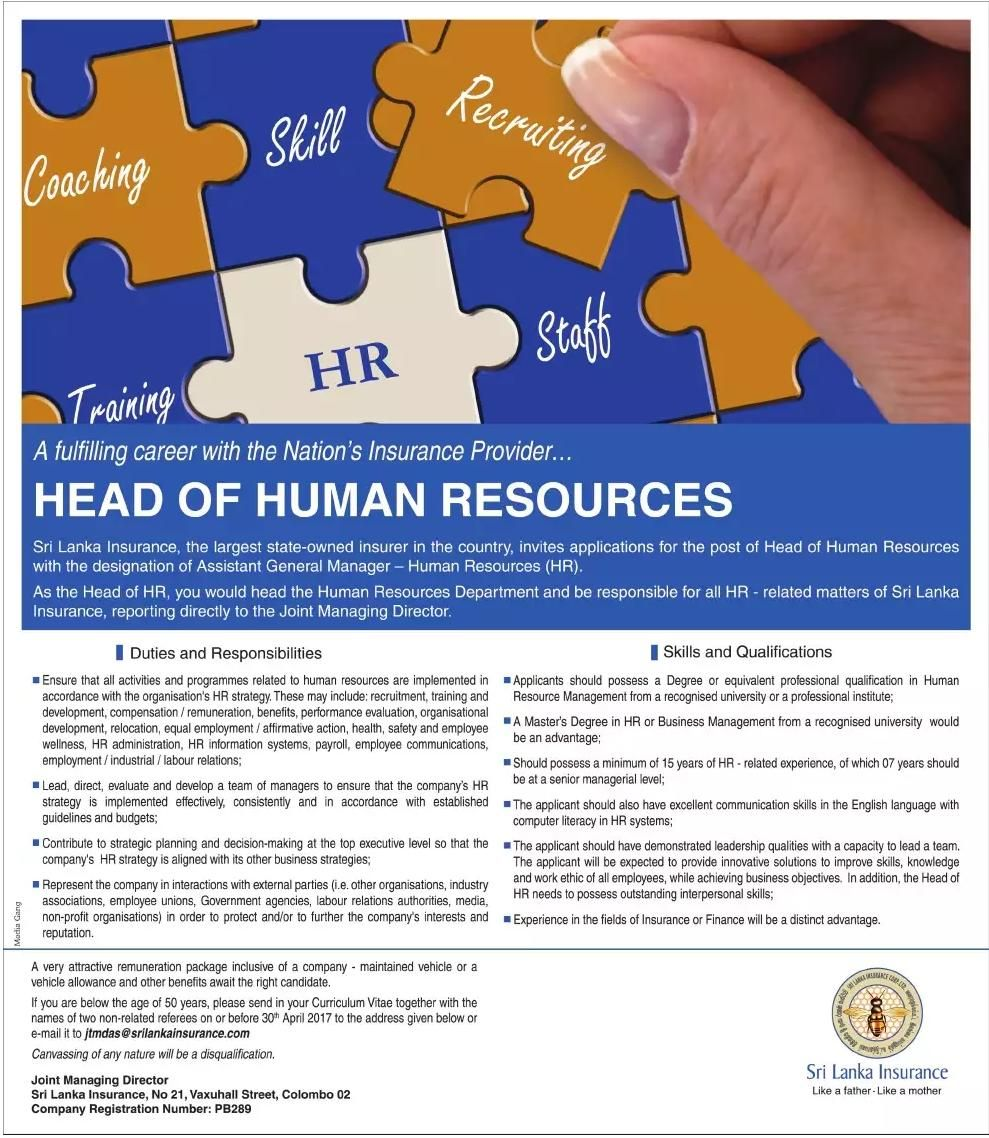 Head Of Human Resources At Sri Lanka Insurance Career First