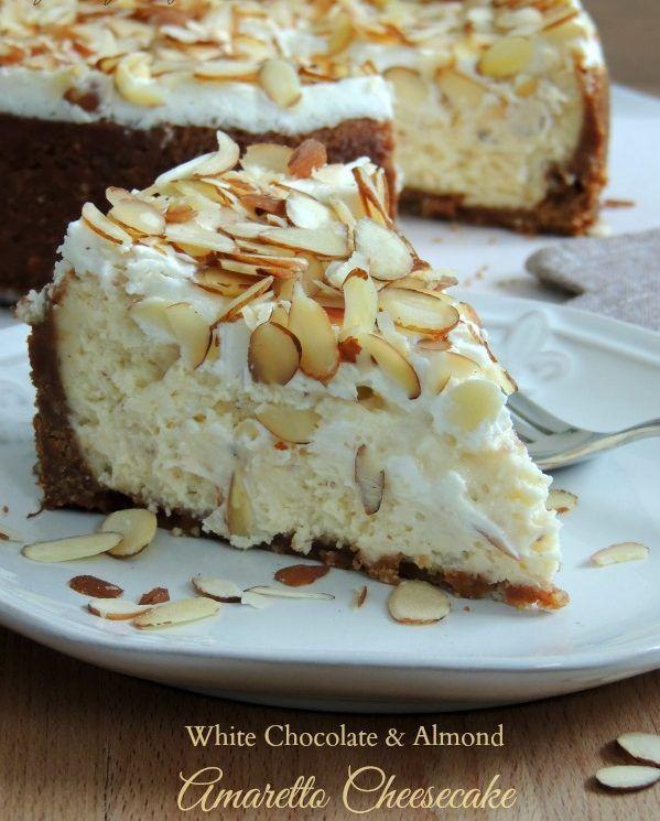 White Chocolate & Almond Amaretto Cheesecake http://www.recipesfeedfood.com/white-chocolate-almond-amaretto-cheesecake/
