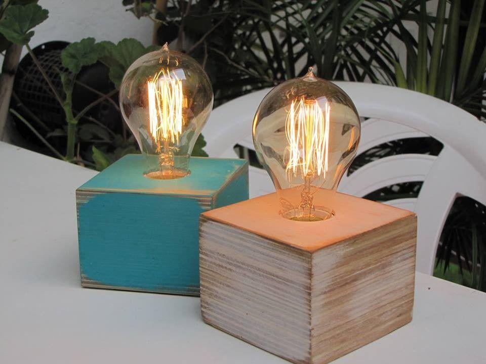 Velador lampara cubo escritorio mas lampara vintage - Como hacer lamparas de techo artesanales ...