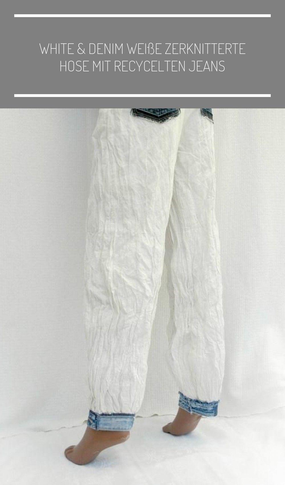 White & Denim Weiße zerknitterte Hose mit recycelten Jeans   Etsy,  #denim #jeans #recycelten #white #zerknitterte #upcycled denim fashion White & Denim Weiße zerknitterte Hose mit recycelten Jeans   Etsy - UPCYCLING IDEEN