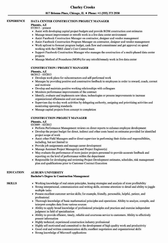 Project Management Job Description Resume New Construction