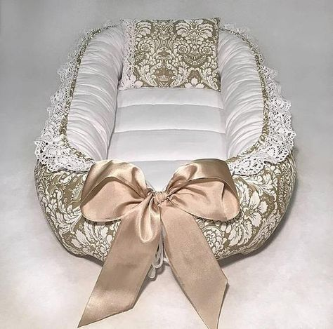Brown Damask Double Sided Baby Nest For Newborn Babynest