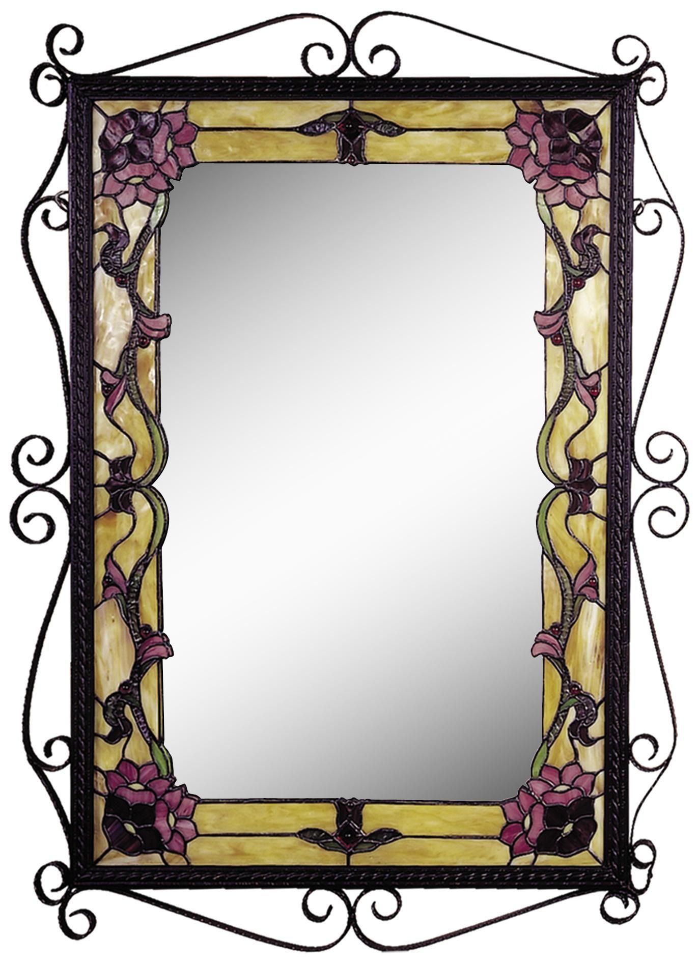 Dale Tiffany Charmine 36 High Art Glass Wall Mirror X2704 Lamps Plus Stained Glass Mirror Dale Tiffany Glass Wall Art