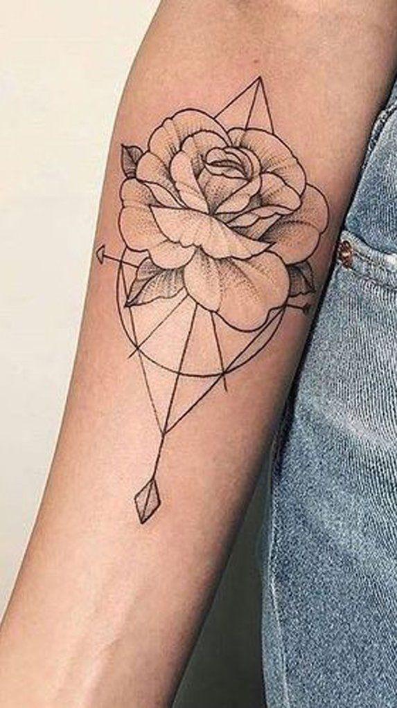 Vintage Rose Outline Geometric Arrow Arm Tattoo Ideas for Women – vintage rose geometric forearm tattoo ideas for women – ww …