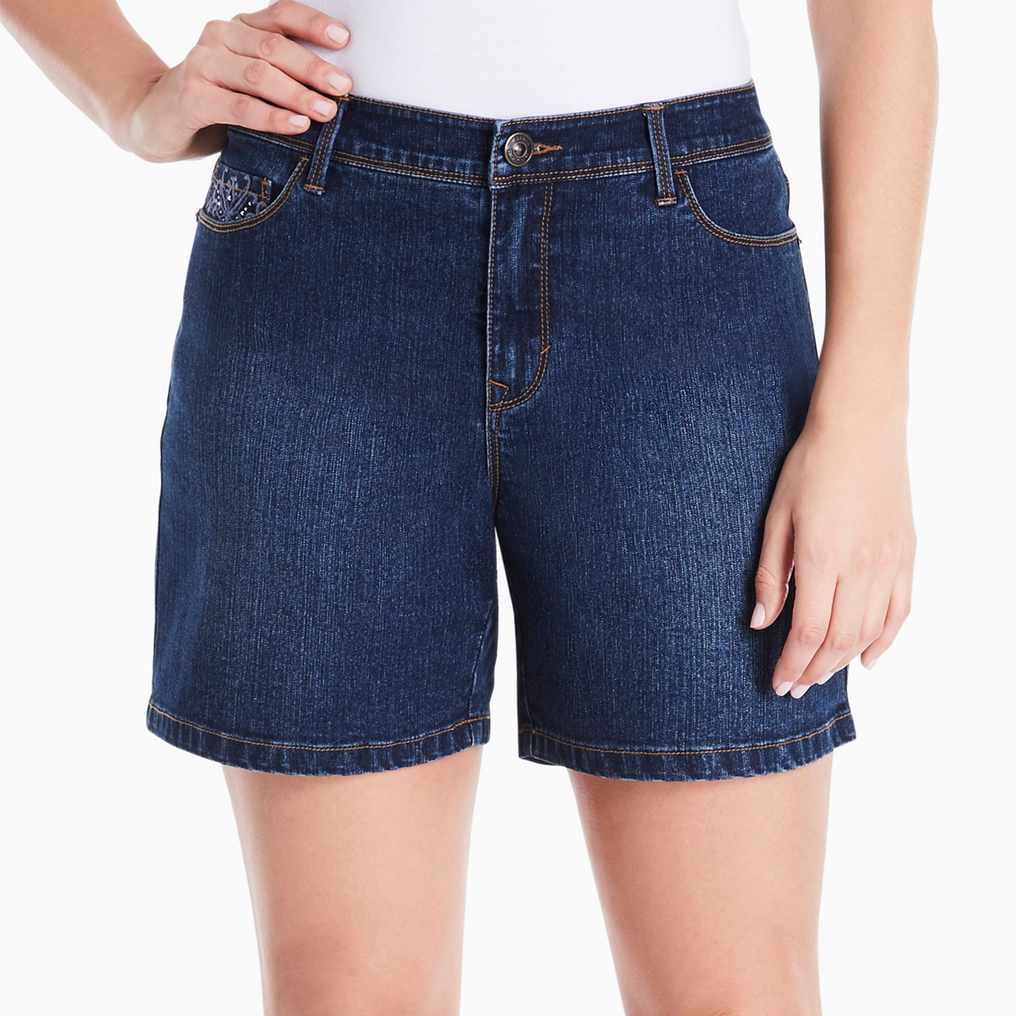 9dff4444ca Women's Gloria Vanderbilt Majesty Embroidered Jean Shorts, Size: 12, Med  Blue