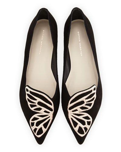 Sophia Webster Bibi Butterfly Embroidered Suede Flat, Black