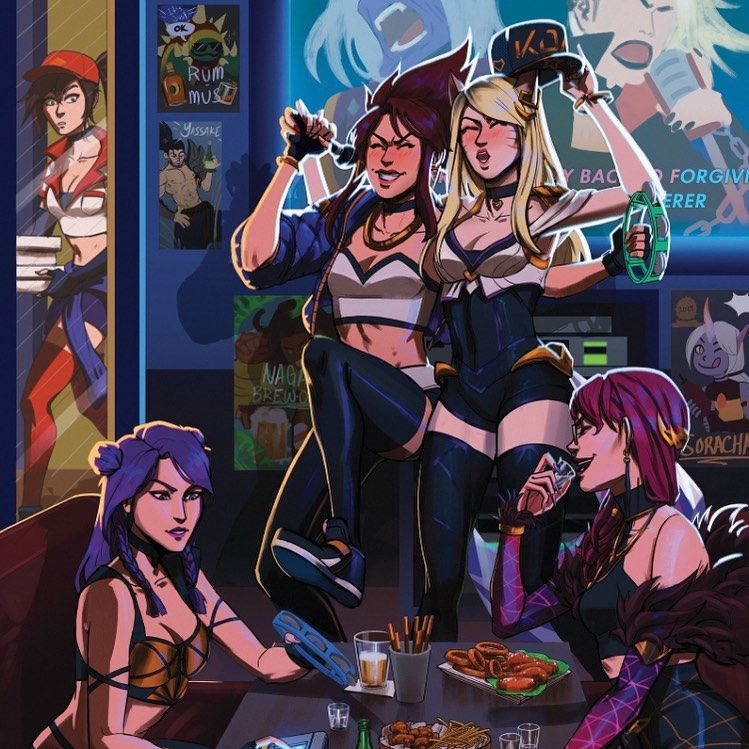 , Foxy and Akali can't handle alcohol 🦊💫🐉😈 • Follow @kaisa_kda_dancer for more content 💜💞 • My Kda girl, My Pop Star Kda Blog, My Pop Star Kda Blog