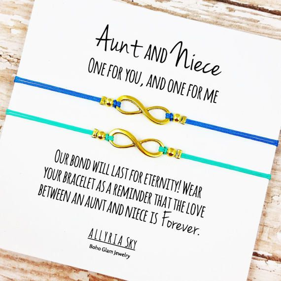 Set Of Two Charm Bracelets With Aunt And Niece Card By AllyriaSky