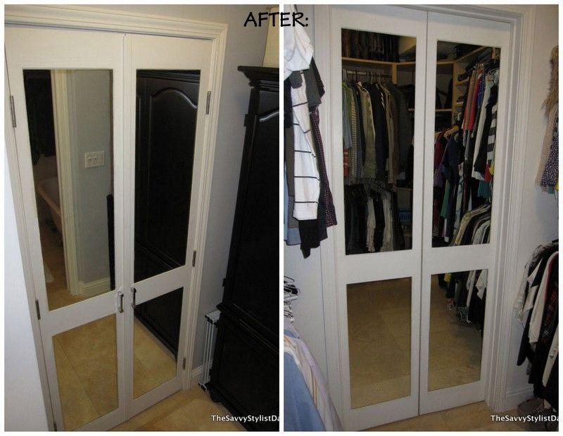 Remodelaholic Diy Mirrored Closet Door Makeover Closet Door