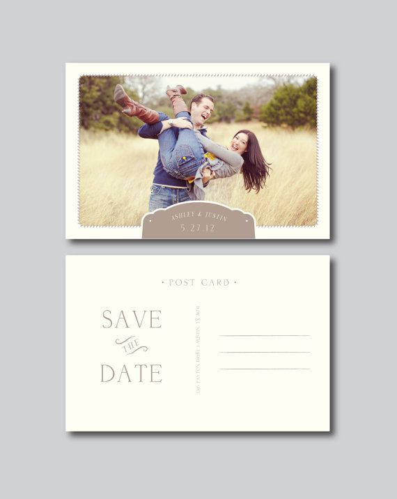 Save the Date Postcard Photography Template Engagement – Save the Date Card Template