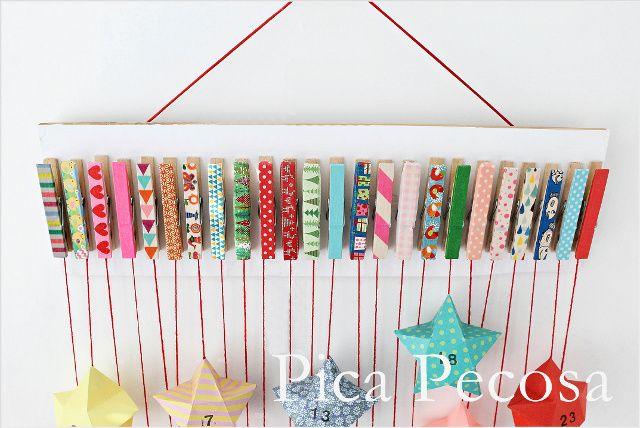 Calendario adviento diy trozo madera pinzas ropa adornadas - Calendario adviento madera ...