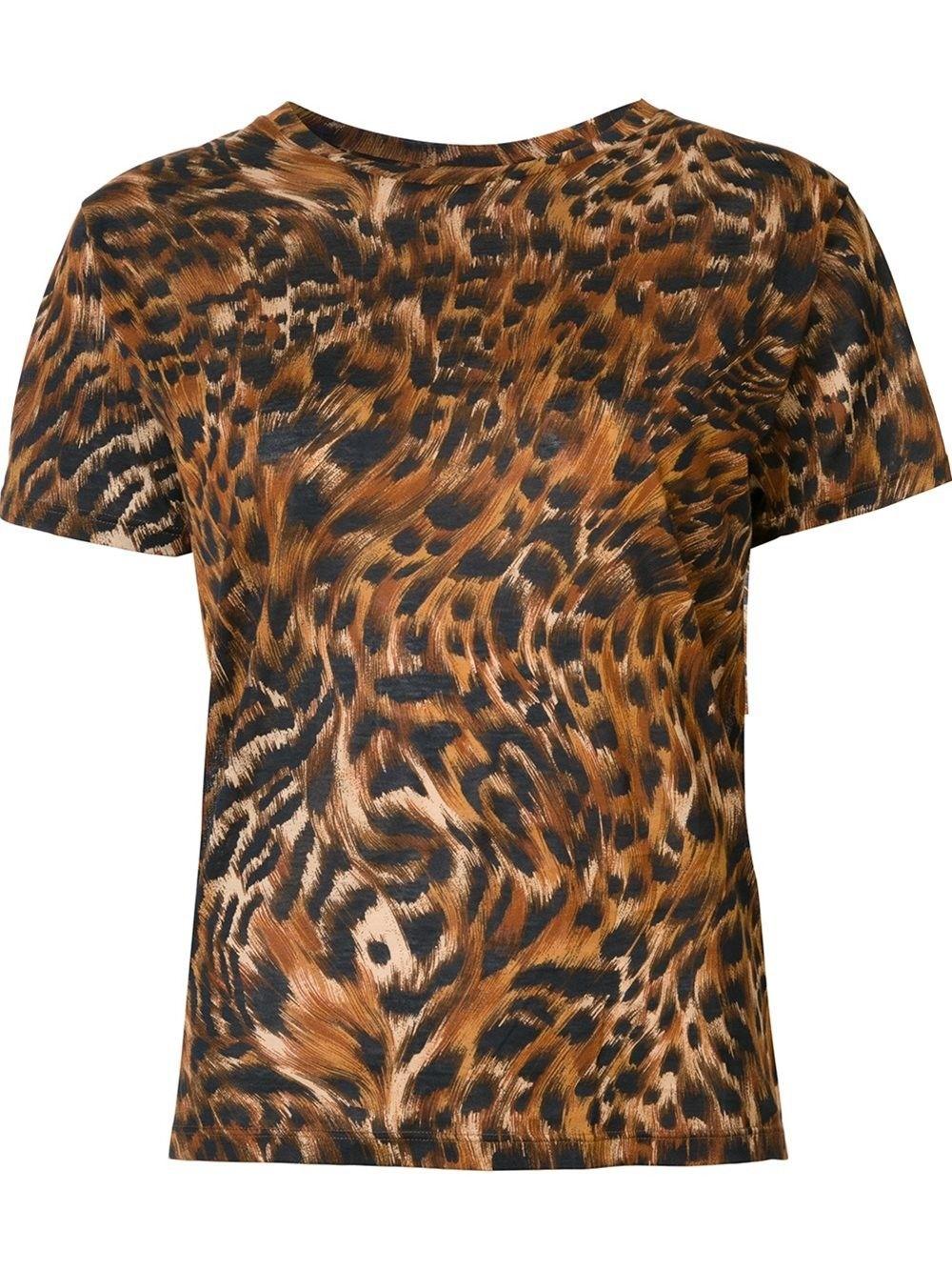 SAINT LAURENT leopard and feather print T-shirt. #saintlaurent #cloth #