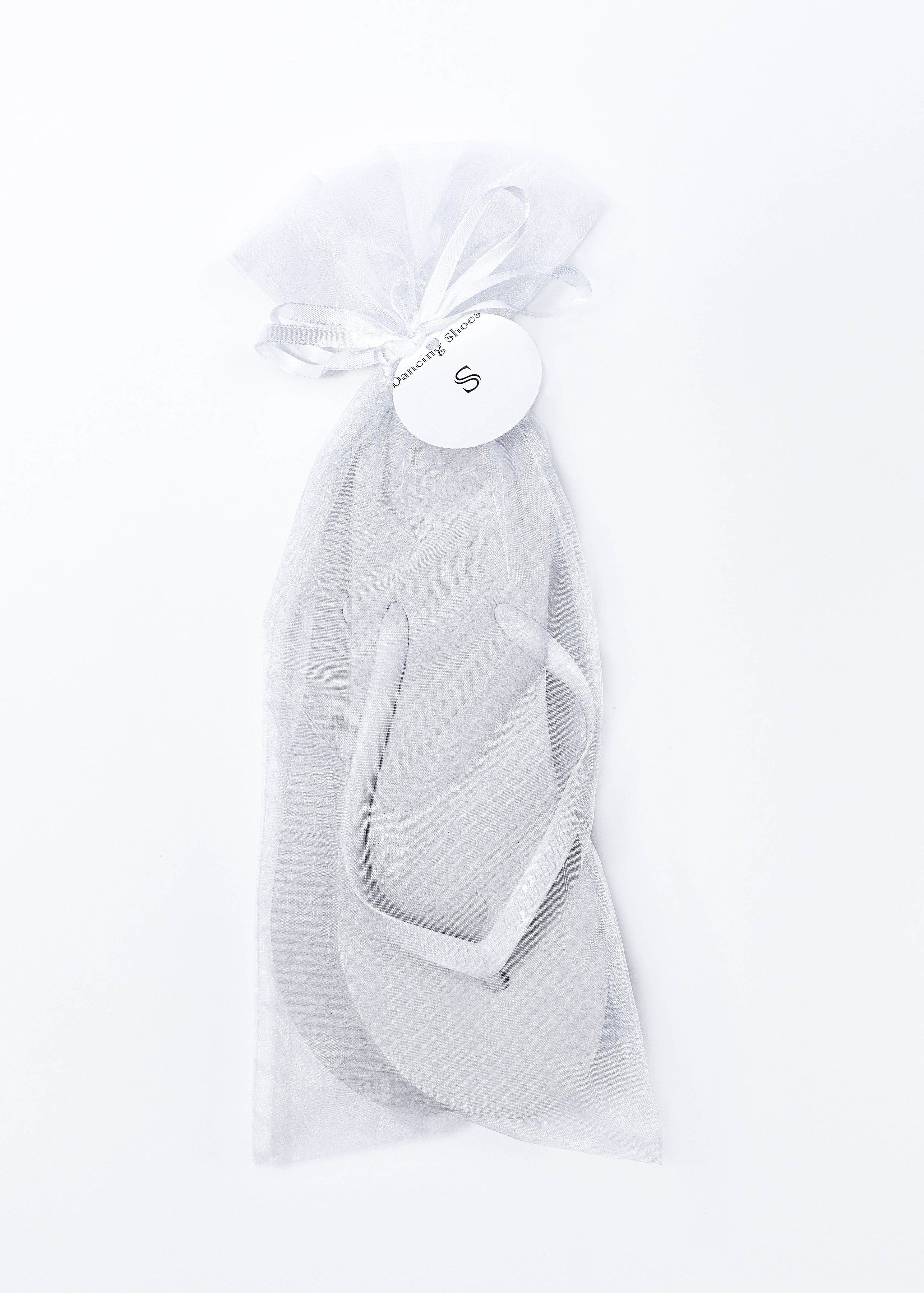 34d38cd4fdb4 Classic White Flip Flop with White Organza Bags