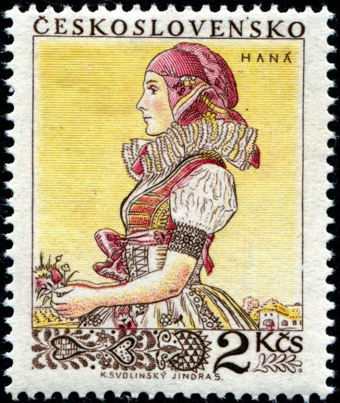 1955 Checoslovaquia-Trajes Tradicionales- Haná , Mujer Moravia