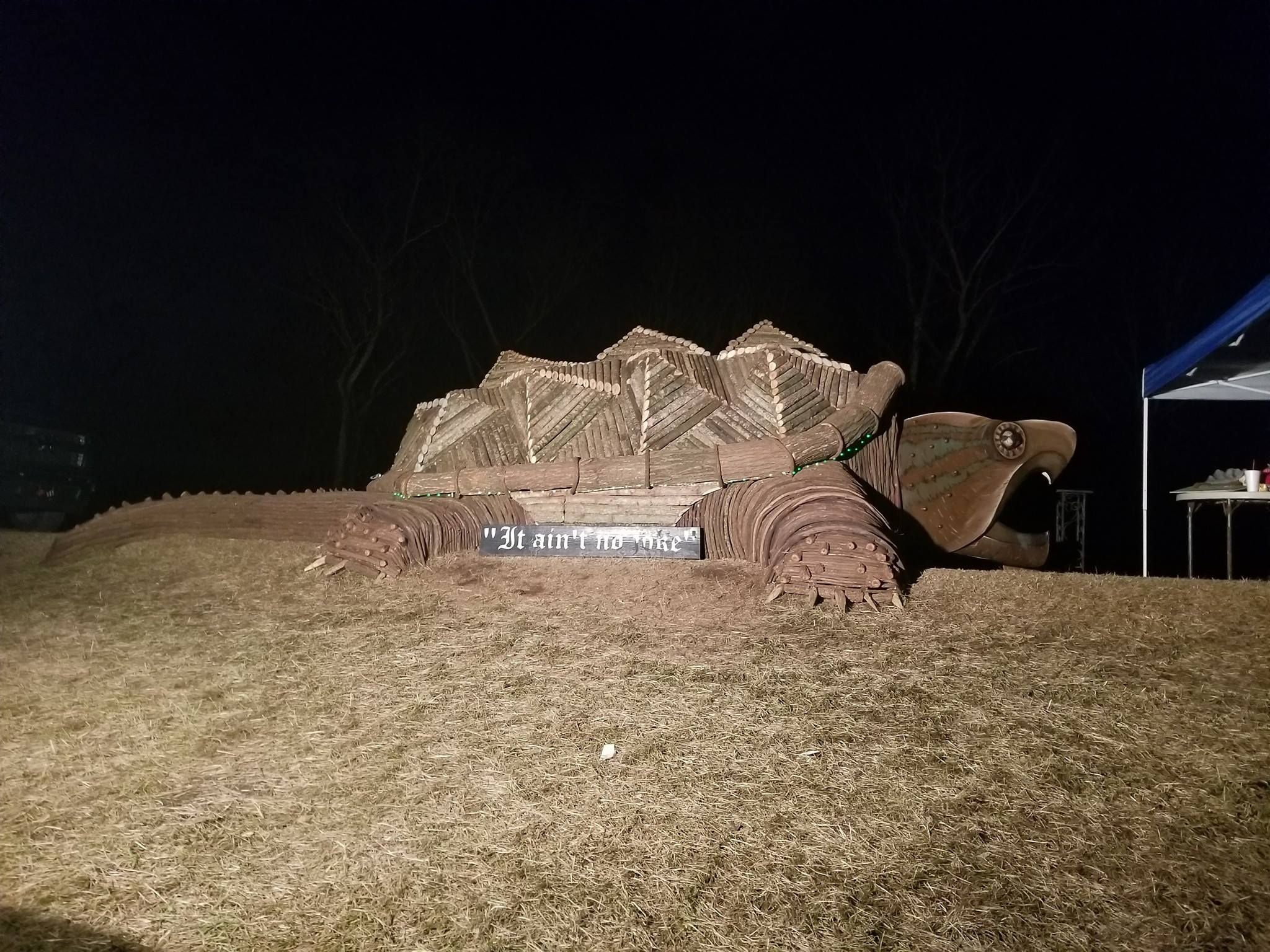 Giant wooden snapping turtle made for the local Christmas bonfires
