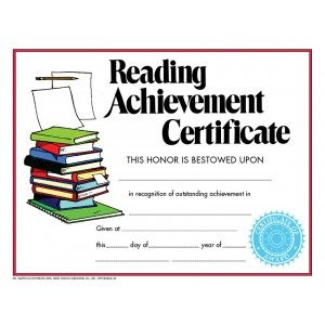 Reading Achievement Certificate  30 Pack Downloadable Templates Available  To Personalize Or Can Be Handwritten.  Achievement Templates