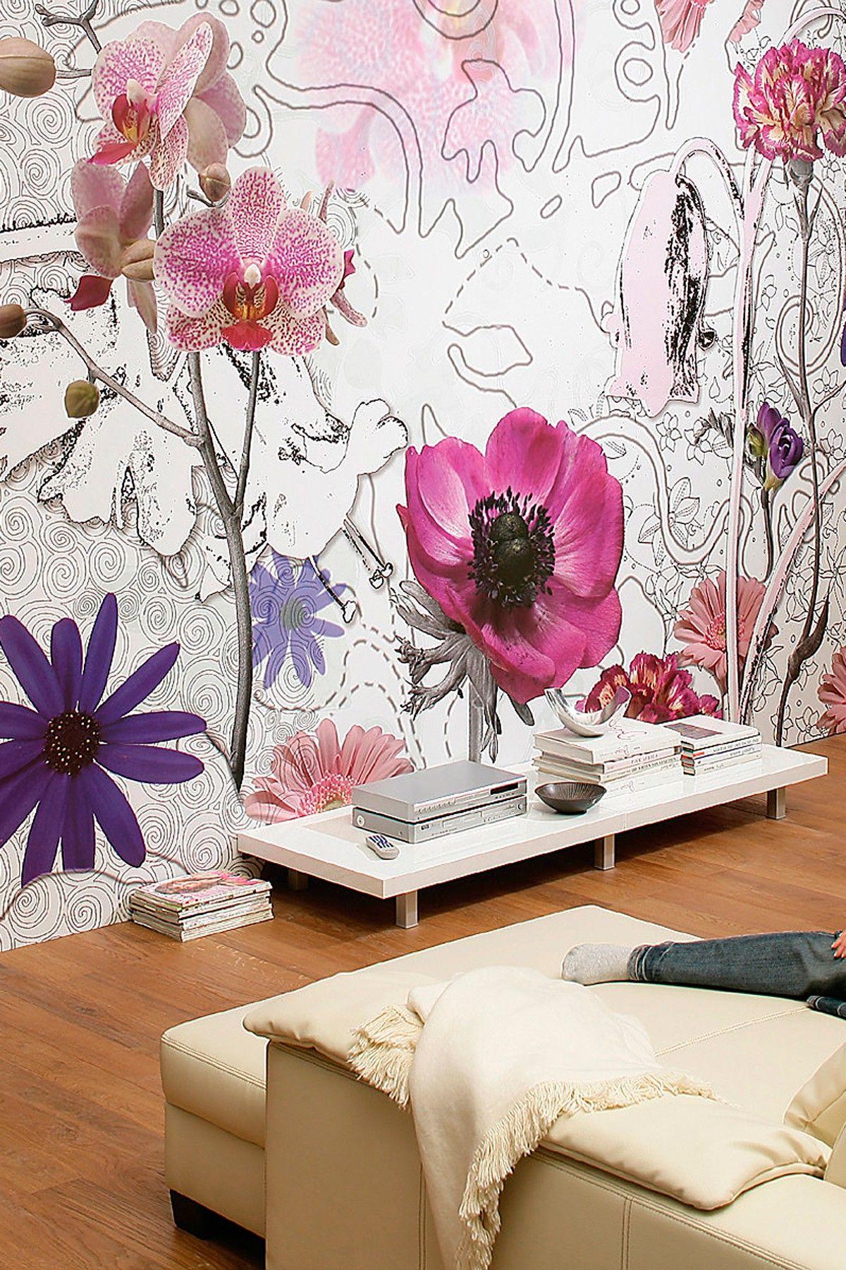 Hautelook Mid Century Update Your Walls Purple Wall Mural Wall Murals Mural Mural Wallpaper