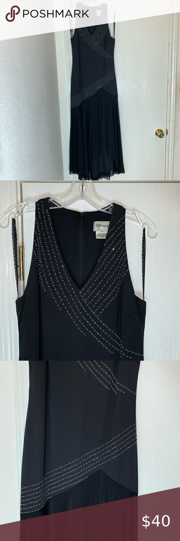 Stenay Black Dress With Crystals Size 12 Dress Size Chart Women Black Beaded Dress Black Maxi Dress [ 1740 x 580 Pixel ]