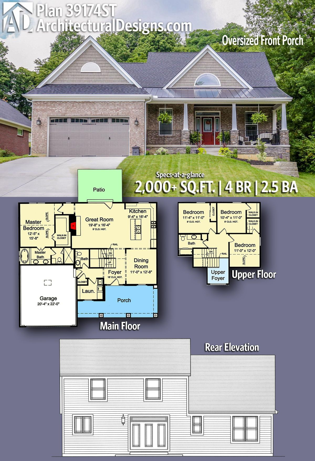 Plan 39174st 4 Bed House Plan With Oversized Front Porch New House Plans Dream House Plans House Plans