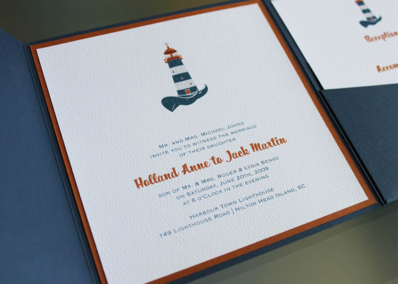 Harbour Town Lighthouse Wedding Invitation Design Fee Nautical
