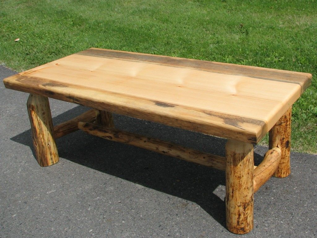 Knotty Pine Log Coffee Table