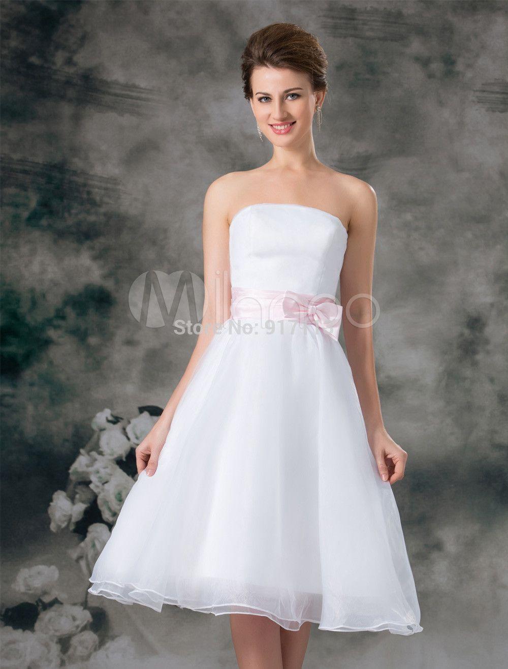 82 0us New White Ivory Romantic Short A Line Strapless Bow Organza Bridal Wedding Dress Custom Size 4 6 8 10 12 14 16 18 20 Custom Made Evening Dress Cust Knee Length Wedding [ 1316 x 1000 Pixel ]