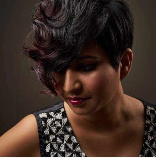 Pic of Indian Pixie cut with long fringe