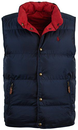 Polo Ralph Lauren Mens Reversible Down Filled Puffer Vest - S - Navy/Red  Polo