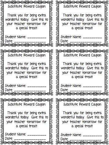 I Love My Classroom Sub Plan Templates Making Writing Sub - coupon sheet template