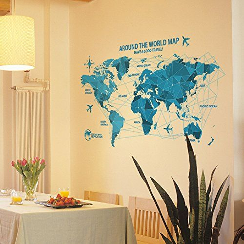 Livegallery removable blue huge world map wall decal quotes around livegallery removable blue huge world map wall decal quotes around the word travel word map peel gumiabroncs Gallery