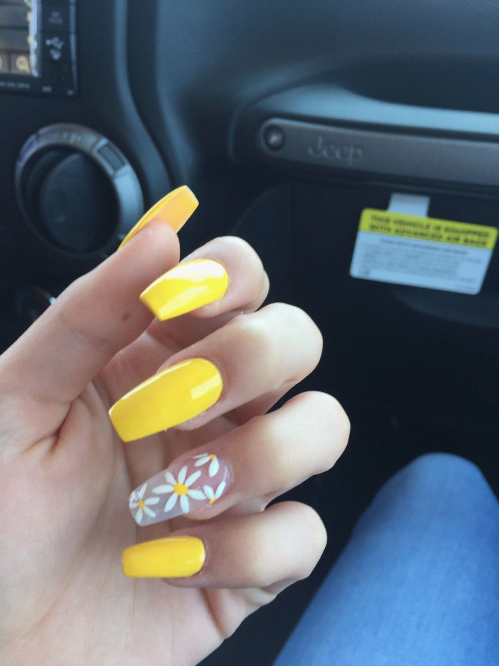 23 Simple Flower Nail Designs Yellow Nails Design Sunflower Nails Flower Nail Designs