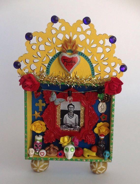 Mexican Tin Nicho Shadow Box Vintage Style Frame Bell Top New Folk Art