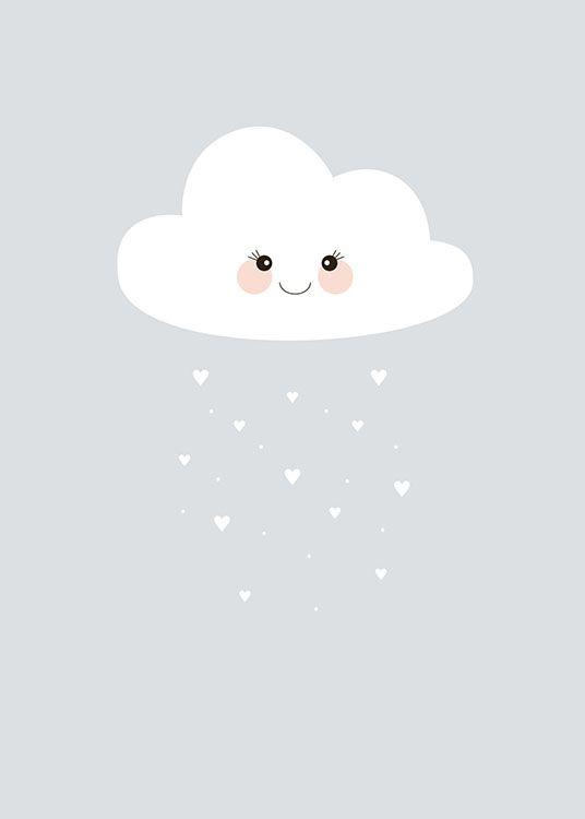 Poster wolkje met hartjesregen Kinderposter, Baby poster