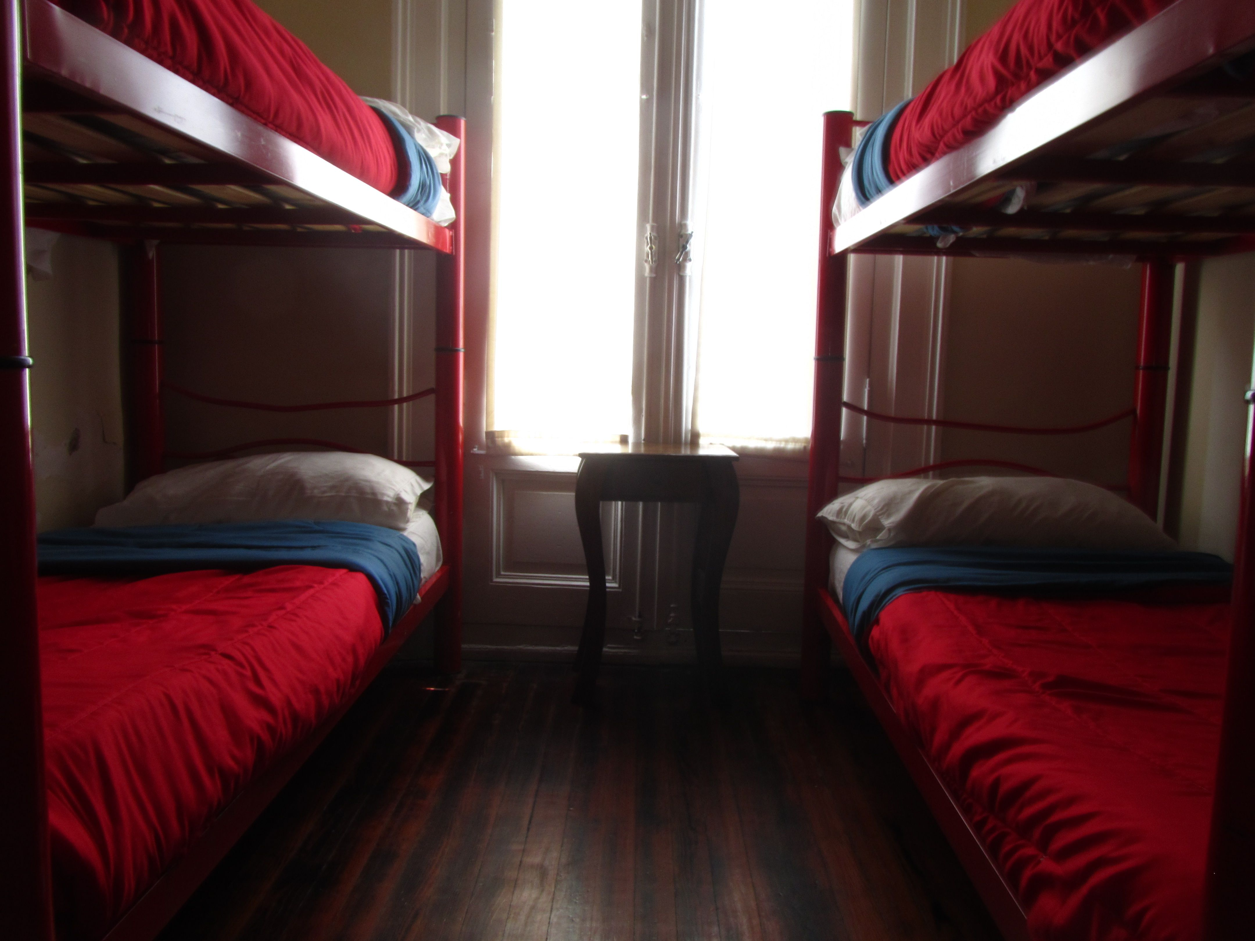 In our hostel We have 4, 6 and 8 bed forms. The rooms preserves original ceilings and wooden floors, It has comfortable beds and lockers where you can put you things.