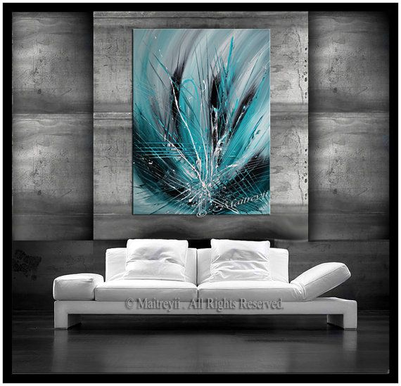 Abstract LARGE Artwork paintings Teal Turquoise, Emerald on Canvas - modern turkis