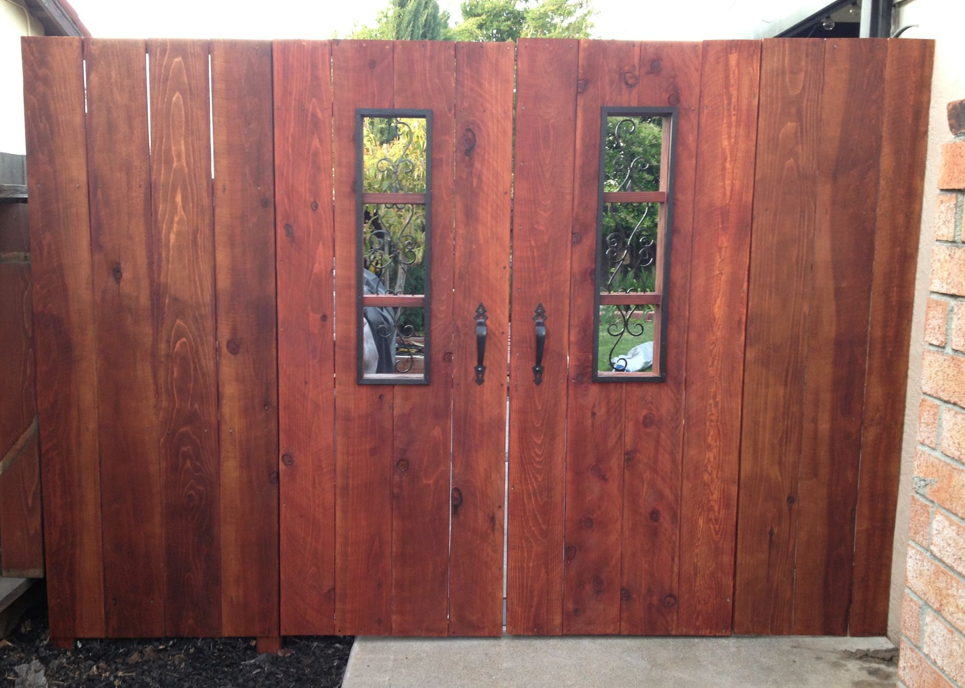 Double Gate With Wrought Iron Insert Fences Pinterest