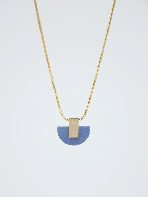 FORMA n.3 // Porcelain and metal Necklace // LIMITED EDITION in blue