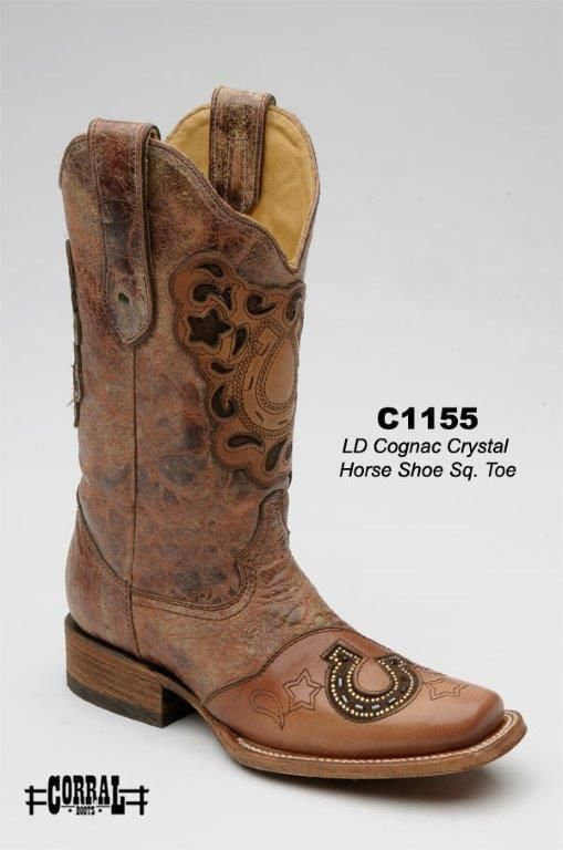 Cowgirl Clad Company - Corral C1155 Cognac Crystal Horse Shoe Sq. Toe, $340.00 (http://www.cowgirlclad.com/corral-c1155-cognac-crystal-horse-shoe-sq-toe/)