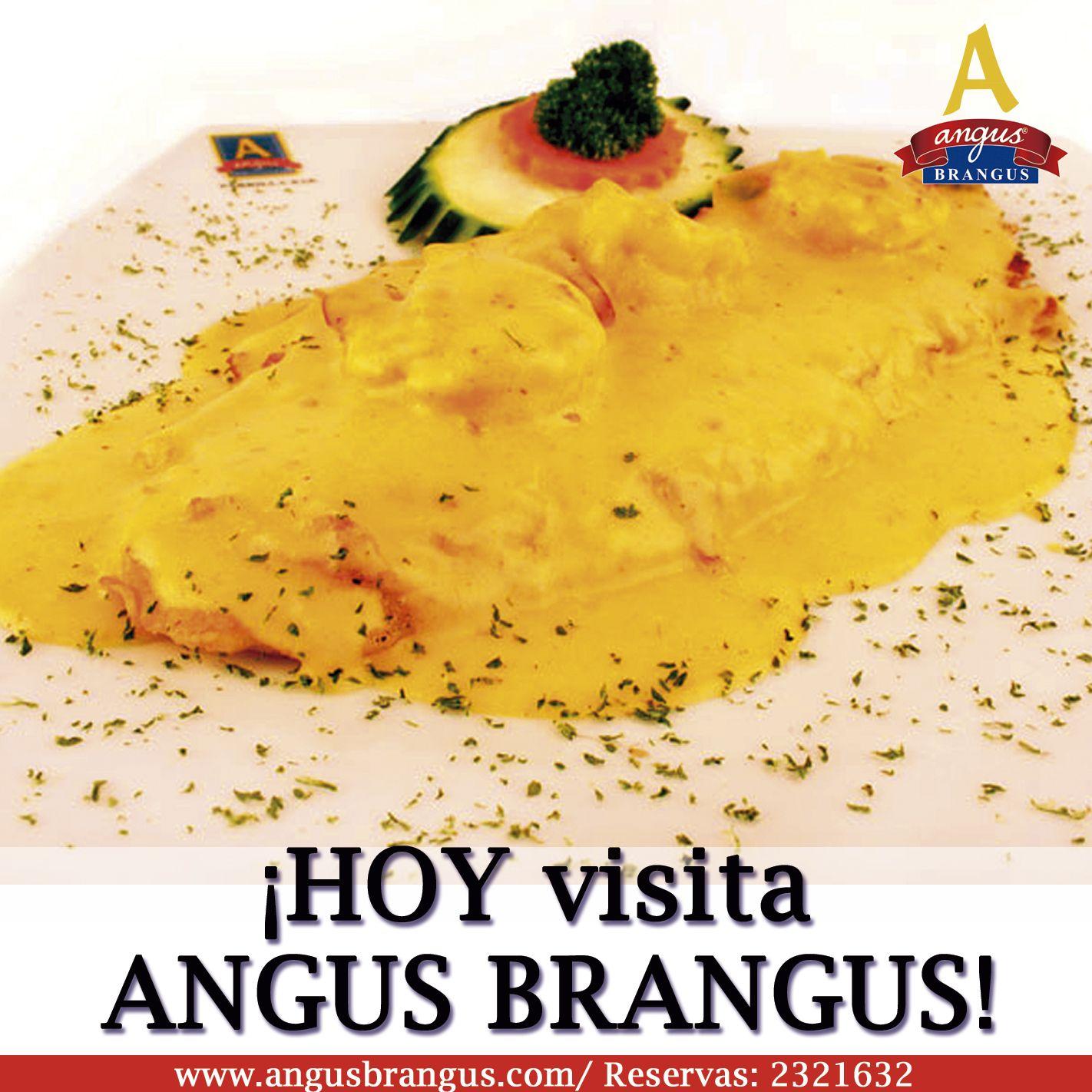 Almuerza hoy en Angus Brangus,hoy te preparamos un delicioso filete de pescado a la Polanski; bañado en salsa blanca, un toque de mostaza y langostinos. Reservas: 2321632.