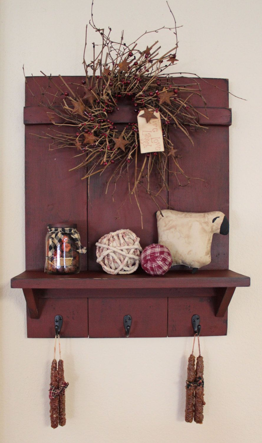Handmade primitive country distressed wall shelf with rubbed