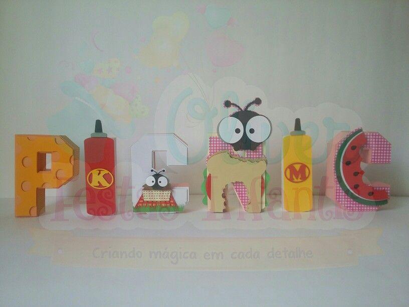 Letra em 3D Tema Pic Nic by Oliver Festas Infantis