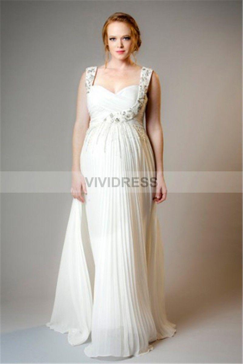 fda0b8780588d Reasonable Sheath/Column Backless Square Sleeveless Floor-length Chiffon Maternity  Wedding Dresses